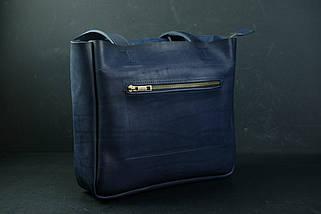 Шоппер з двома кишенями Шкіра Італійський краст колір Синій, фото 3