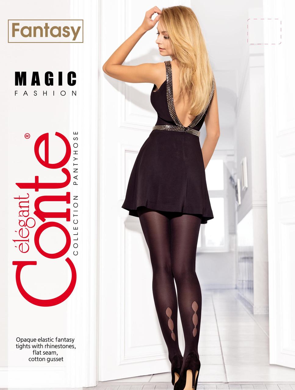 Жіночі колготки зі стразами Conte fantasy magig і малюнком крапельки 50 ден