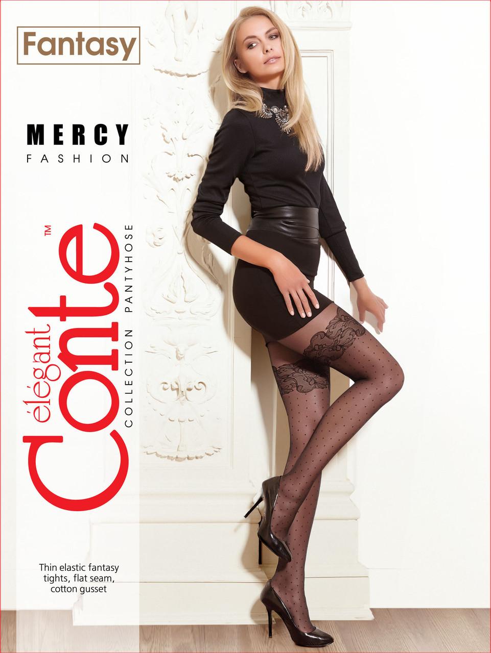Жіночі колготки білі Conte fantasy mercy в горошок з імітацією ажурних панчіх 20 den