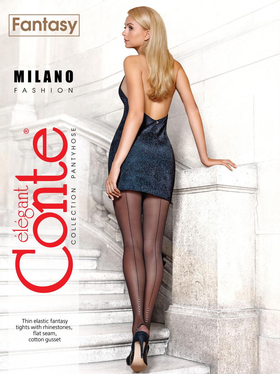 Колготки з імітацією дрібної сітки Conte fantasy milano з швом ззаду зі стразами 30 den