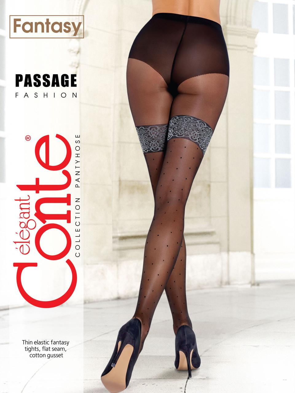 Conte fantasy passage жіночі колготки з імітацією ажурних панчіх в горошок чорні 20 den