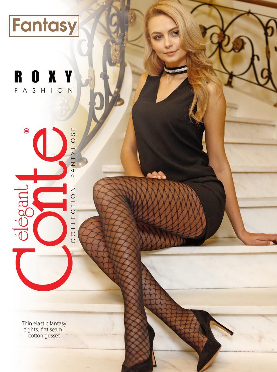 Жіночі капронові колготки Conte fantasy roxy з імітацією великої сітки 20 den чорні