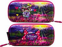 Пенал для девочки жесткий Winner One яркий малиновый с пейзажем и совой в очках рисунок с обеих сторон