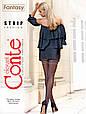 Чорні колготки Conte fantasy strip з імітацією панчіх і швом ззаду 20 den чорні, фото 2