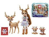 Игровой набор Enchantimals с куклой Рейни Олень и семья оленей mattel GNP17