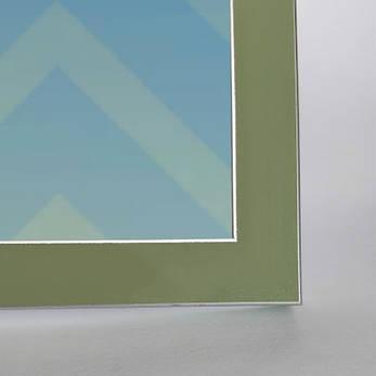 Рамка А6 10х15 сіро - зелена з срібними смужками для фото настільна зі склом Укр Рамки, фото 2