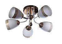 Люстра потолочная на 5 плафонов Sunlight ST1415 Золотистый с белым 52695, КОД: 1286738