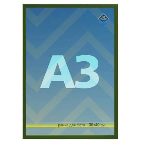 Рамка А3 30х40 зелена для фото настінна зі склом Укр Рамки, фото 2