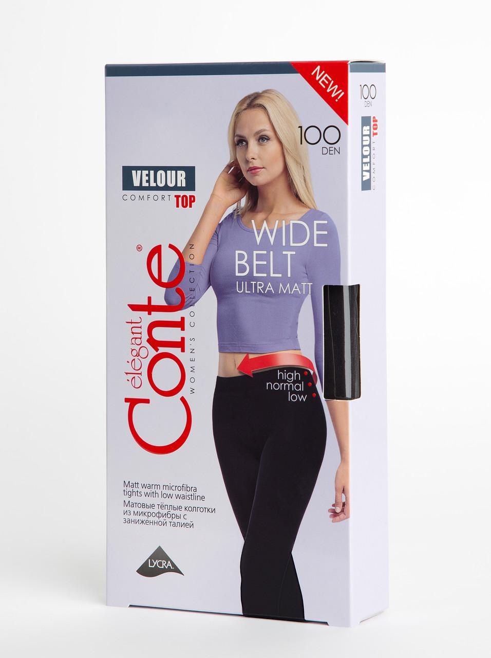 Жіночі матові теплі колготки Conte Velour top 100 lycra з широким заниженим поясом 100 den чорний