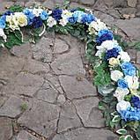 Квіткова композиція на арку синьо-блакитна, фото 2