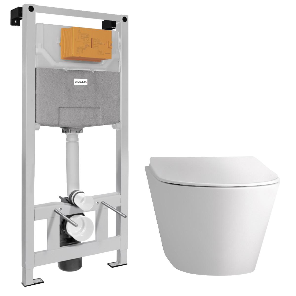 Комплект: AIVA Rimless унитаз, сиденье SLIM+VOLLE MASTER NEO инсталляция для подвесного унитаза без клавиши