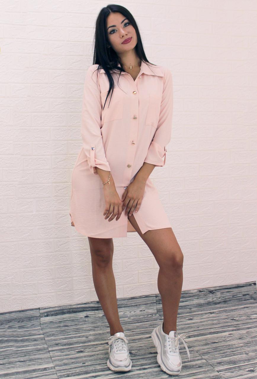 Женское короткое платье-рубашка