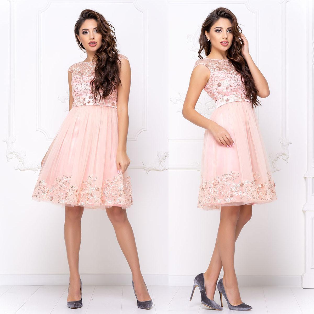 """Красиві рожеві короткі пишні сукні """"Мелані"""""""