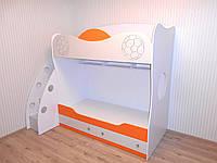 """Детская дизайнерская мебель на заказ """"Футболист"""" - двухъярусная кровать детский шкаф полки. Авторская мебель"""