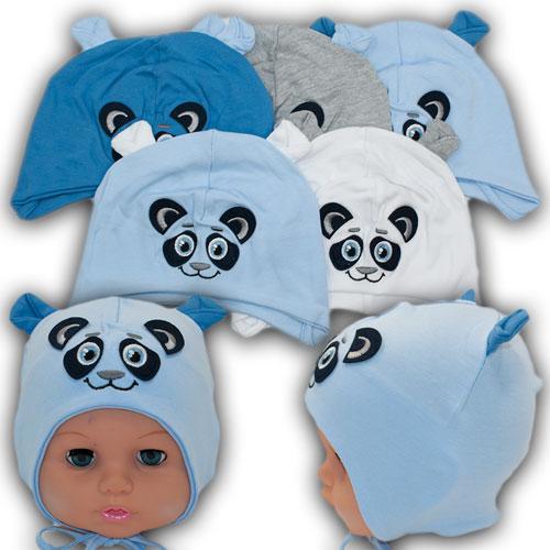 ОПТ Трикотажные шапки на завязках для мальчика, р. 42-44 (5шт/набор)
