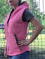Жилет женский розовый демисезонный на синтепоне с капюшоном 44 р. Tayes (1230545554)