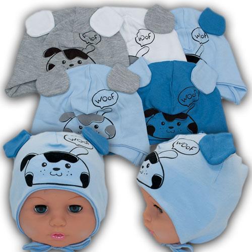 ОПТ Трикотажные шапки на завязках для мальчика, р. 38-40 (5шт/набор)