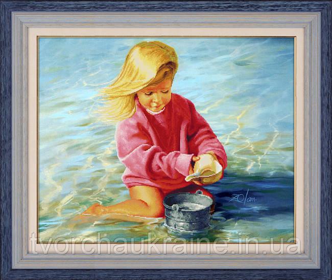 """Набор для рисования камнями 5D (частичная выкладка на холсте) """"Девочка у моря"""" LasKo"""
