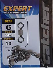 Вертлюжок рибальський 10 шт упаковка 6 - 30 кг