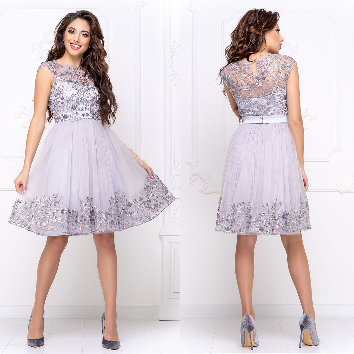 """Коктейльное платье серебро пышное короткое вечернее """"Мелани"""""""