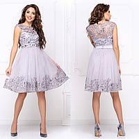 """Коктейльное платье серебро пышное короткое вечернее """"Мелани"""", фото 1"""