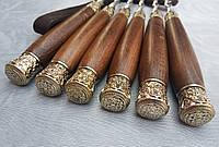 Шампура Классические деревянными ручками в кожаном колчане 6шт