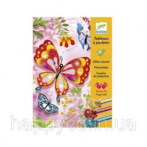 DJECO Художественный комплект рисование блестками Блестящие бабочки