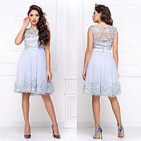 """Нарядное голубое платье женское пышное коктейльное """"Мелани"""", фото 1"""