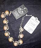 Серебрянный браслет с натуральным жемчугом и позолотой, фото 2