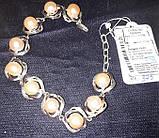 Серебрянный браслет с натуральным жемчугом и позолотой, фото 3