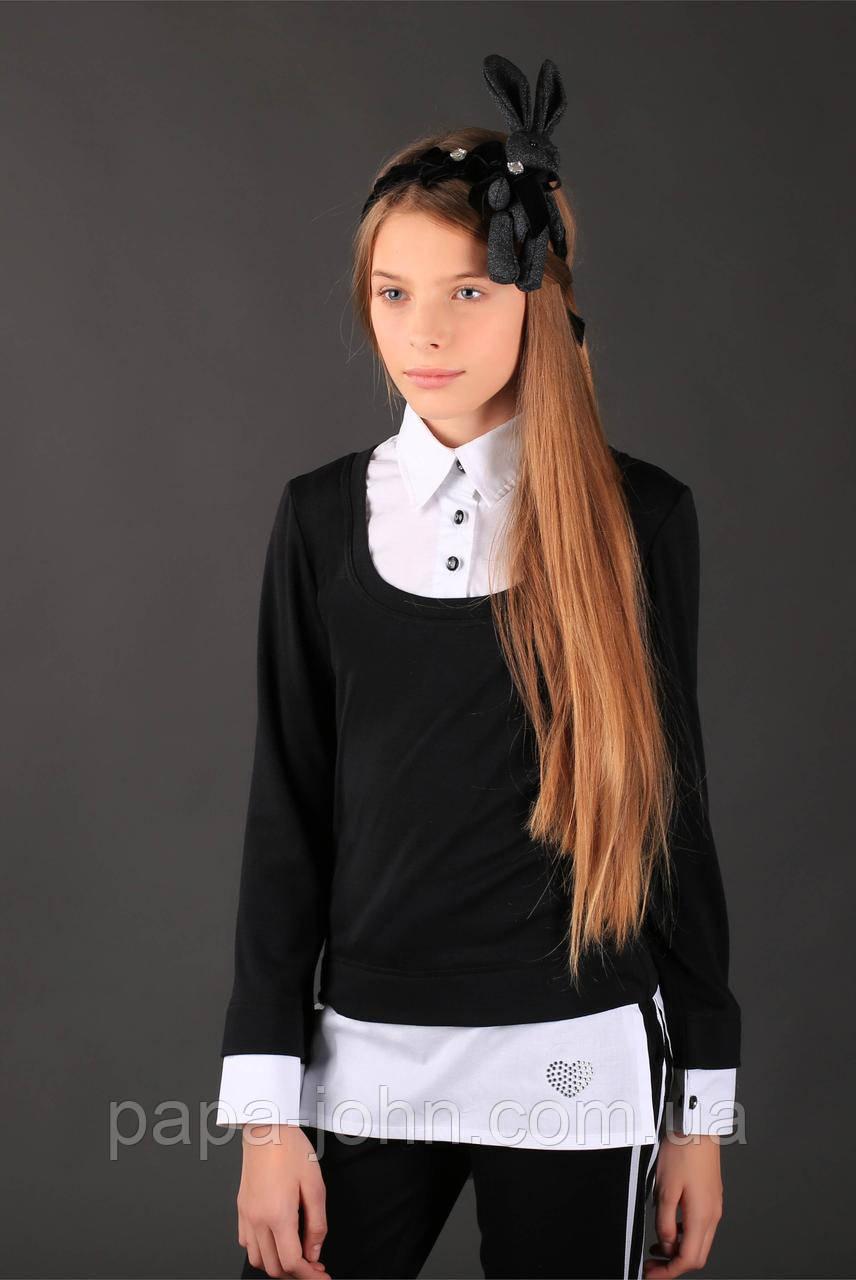 Кофта-рубашка трикотаж шерсть, цвет черный ТМ Моне р.134, 140, 146, 164