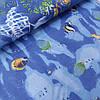 Бязь с разноцветными рыбками на синем, ширина 220 см
