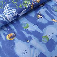 Бязь с разноцветными рыбками на синем, ширина 220 см, фото 1