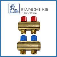 """Коллектор BIANCHI для отопления и водоснабжения с вентилем 1""""х3/4"""" 2 выхода"""
