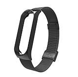 Металлический браслет чёрный black для фитнес трекера Xiaomi mi band 5 ремешок аксессуар замена, фото 2