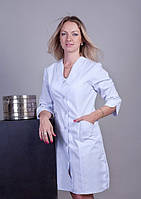 "Распродажа Медицинский халат женский 64 размер ""Health Life"" коттон белый 3110"