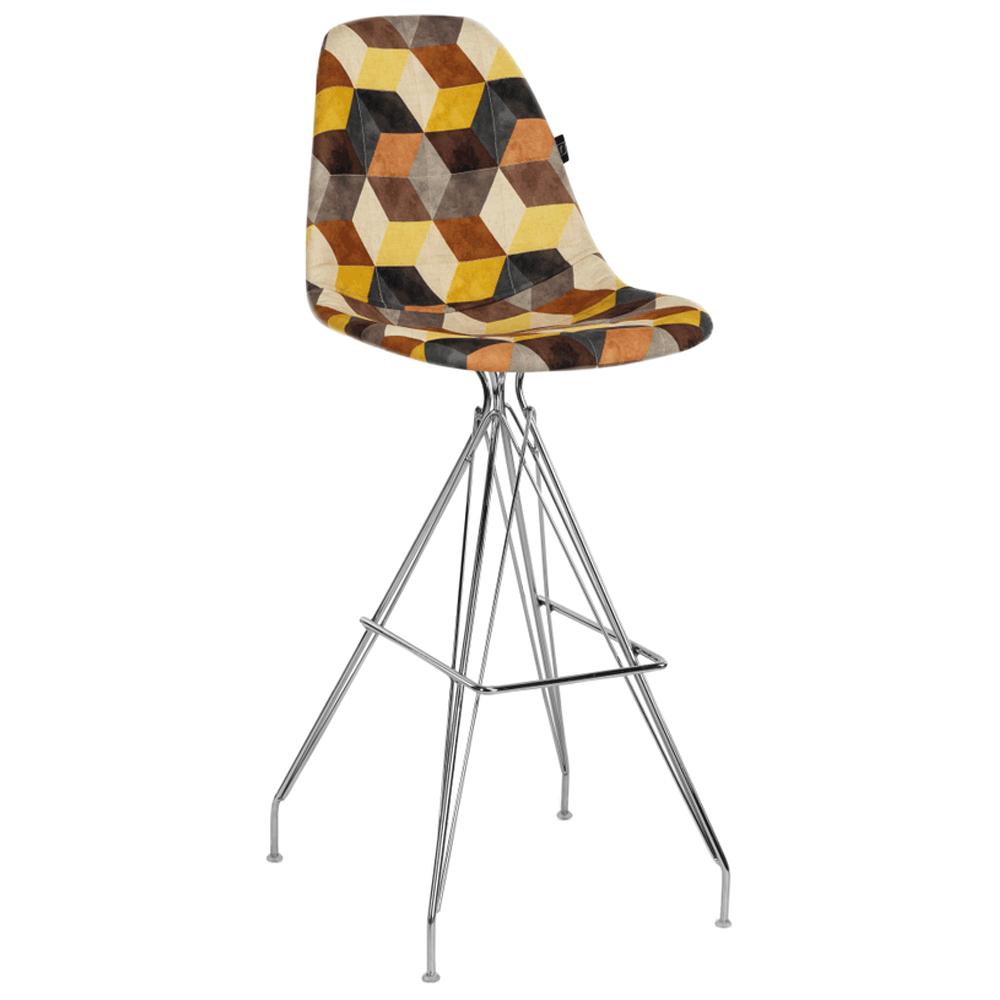 Стул барный Tilia Eos-X сиденье с тканью, ножки металлические хромированные SIESTA 301