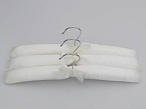 Плечики длина 38 см, в упаковке 3 штуки  вешалки тремпеля мягкие сатиновые для деликатных вещей белого цвета, фото 3