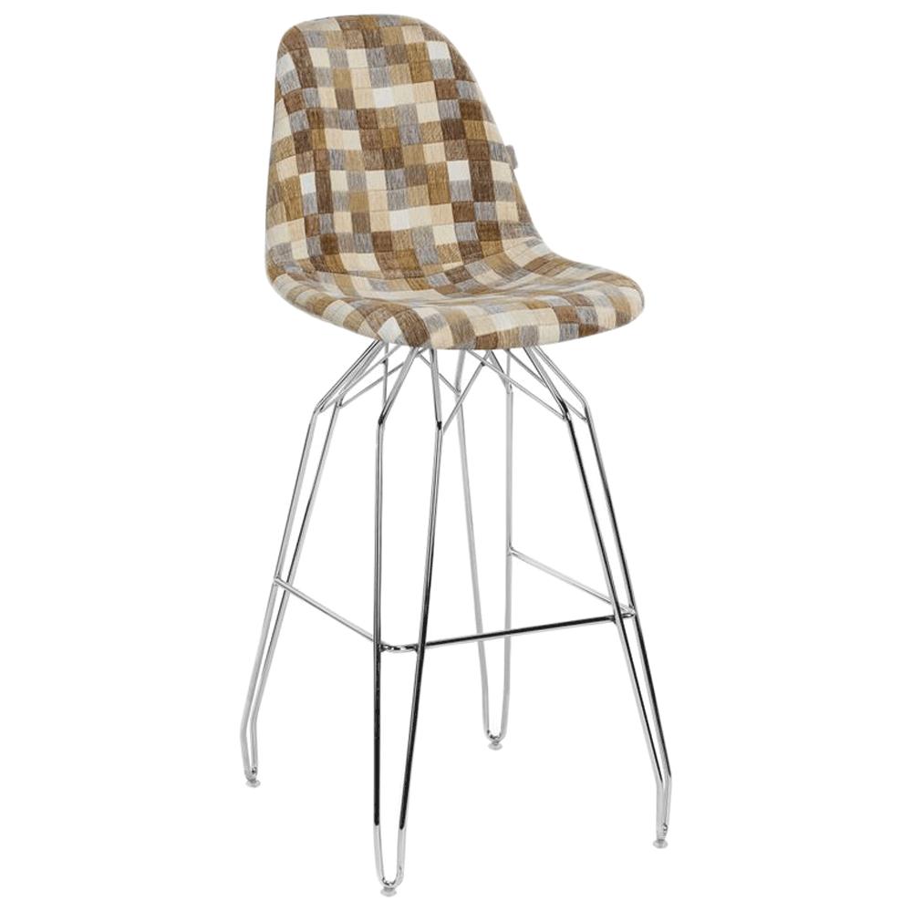 Стул барный Tilia Eos-M сиденье с тканью, ножки металлические хромированные COLOURBOX 7801