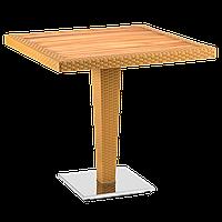Стол Tilia Antares 80x80 см столешница ироко, база хромированная цвет дерево, фото 1