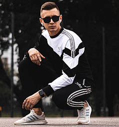 Спортивный костюм для мужчин Adidas весна осень черный с белым. Чоловічий спортивний костюм модный