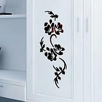 Наклейка на стену обои холодильник Черный Цветок 58*22 см