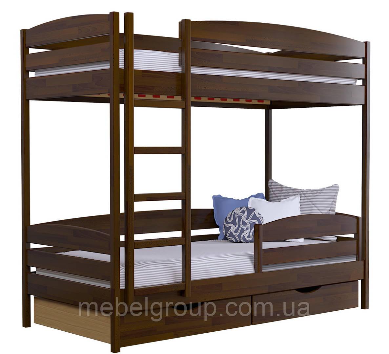 Двухъярусная кровать Дует Плюс Щит, с ящиками ДСП + защитный бортик