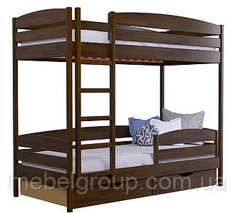 Двоярусне ліжко Дует Плюс Щит, з ящиками ДСП + захисний бортик
