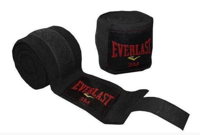 Бинт боксерский Everlast 3 мп, черный,хлопок с эластаном