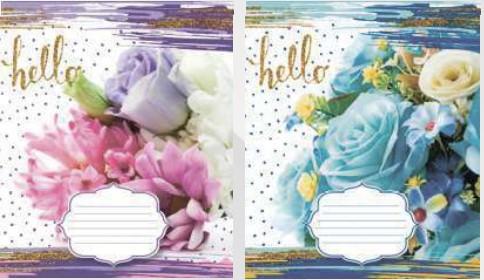 Тетрадь школьная в клеточку Лидер 24 листа, цветы