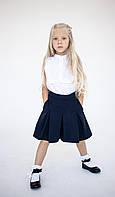 Школьная Рубашка белая для девочек без рукавов с рюшем Lukas