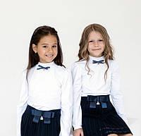 Школьный Гольф для девочек белый с декоративным бантиком Smil