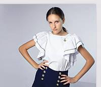 Школьная Блузка с воланами короткий рукав Mone