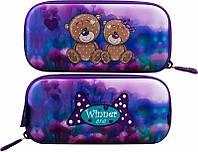 Пенал для девочки жесткий Winner One фиолетовый с мишками рисунок с обеих сторон